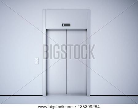 Modern elevator with closed metal  doors. 3d rendering