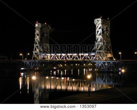 Houghton-Hancock Lift Bridge At Night