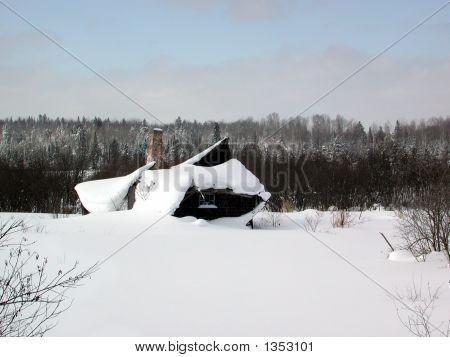 Rural Shack In Winter