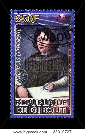 DJIBOUTI - CIRCA 2010 : Cancelled postage stamp printed by Djibouti, that shows Nicolas Copernic.