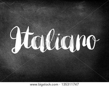 Italiano written on chalkboard