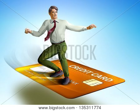 Businessman surfing on a credit card. Digital illustration.