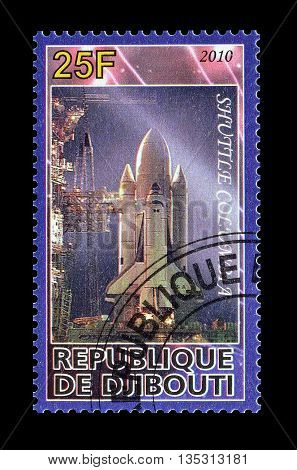 DJIBOUTI - CIRCA 2010 : Cancelled postage stamp printed by Djibouti, that shows Shuttle.