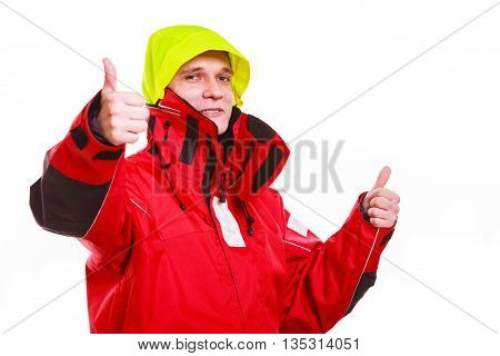Hooded Man In Waterproof Jacket