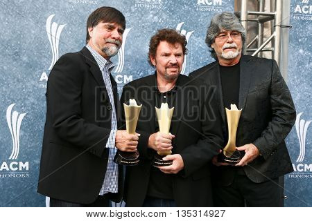 NASHVILLE, TN-SEP 1: (L-R) Ted Genry, Jeff Cook and Randy Owen of Alabama attend the 9th Annual ACM Honors at the Ryman Auditorium on September 1, 2015 in Nashville, Tennessee.