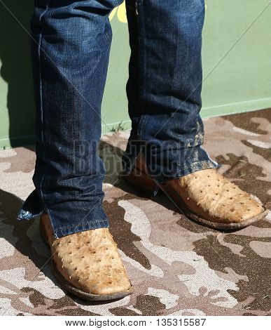 ARLINGTON, TX - APR 18:Boots worn by Justin Moore at the ACM & Cabela'??s Great Outdoor Archery Event at the 50th Academy Of Country Music Awards at the Texas Rangers Youth Ballpark on April 18, 2015.