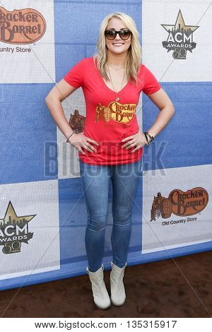 ARLINGTON, TX - APR 18: Singer Jamie Lynn Spears attends the Cracker Barrel Old Country Store Country Checkers Challenge at Globe Life Park in Arlington on April 18, 2015 in Arlington, Texas.