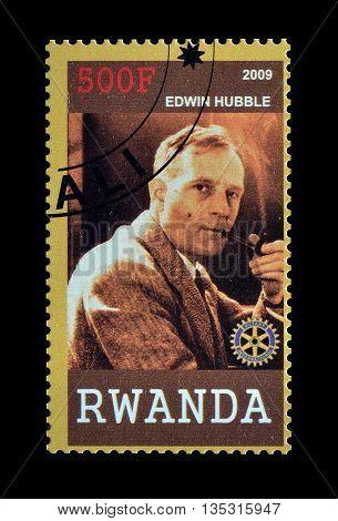 RWANDA - CIRCA 2009 : Cancelled postage stamp printed by Rwanda, that shows Edwin Hubble.