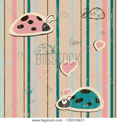 vector seamless wallpaper with ladybirds in love EPS10