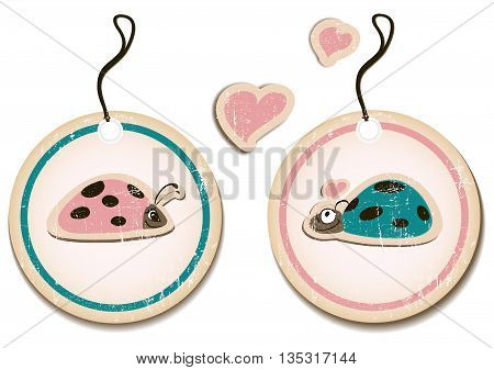 vector set of tags with ladybirds in love. Eps8 illustration