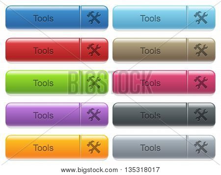 Set of tools glossy color captioned menu buttons with engraved icons