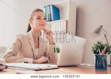 Happy Businesswoman  Dreaming About Rest While Working On Laptop