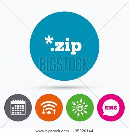 Wifi, Sms and calendar icons. Archive file icon. Download compressed file button. ZIP zipped file extension symbol. Go to web globe.