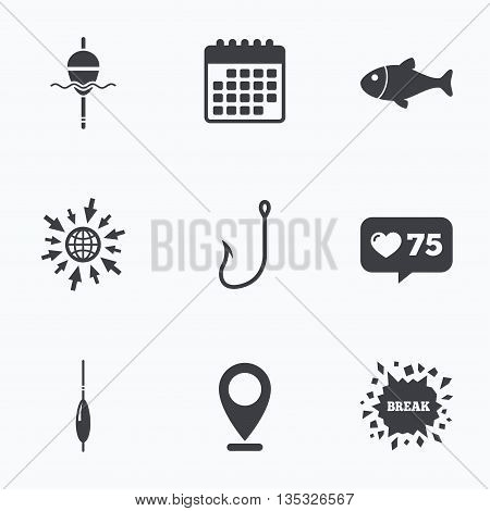 Calendar, like counter and go to web icons. Fishing icons. Fish with fishermen hook sign. Float bobber symbol. Location pointer.