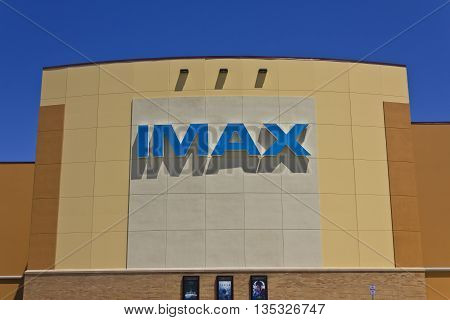 Indianapolis - Circa June 2016: IMAX Movie Theater Logo and Signage. IMAX is a Large Format System of Presenting Movies and Motion Pictures I
