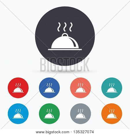 Food platter serving sign icon. Table setting. Flat restaurant icon. Simple design restaurant symbol. Restaurant graphic element. Circle buttons with restaurant icon. Vector