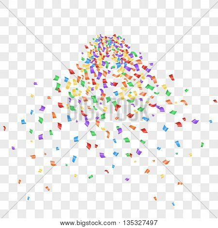 Colorful confetti isolated on transparent background. Confetti explosion. Many falling tiny confetti pieces. Confetti vector isolated. Bright confetti.