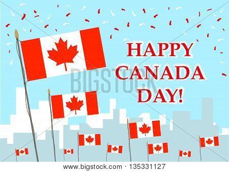 Happy Canada Day celebration concept. Editable Clip art.