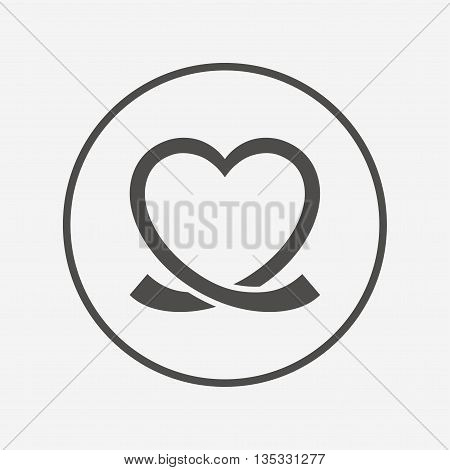 Heart ribbon sign icon. Love symbol. Flat heart icon. Simple design heart symbol. Heart graphic element. Round button with flat heart icon. Vector