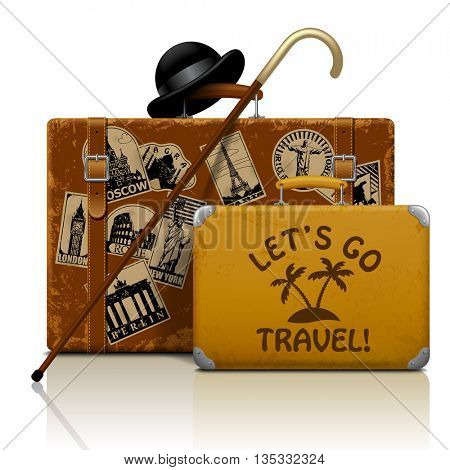 Vintage suitcases with walking stick, bowler hat and collection of retro grunge vacation & travel labels isolated on white.  Let's go travel symbol and metaphor. Vector illustration. EPS 10