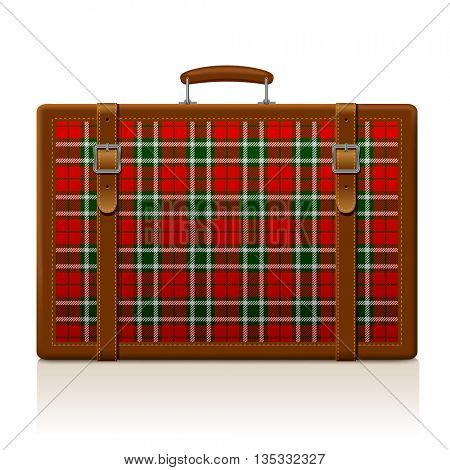 Vintage brown threadbare suitcase with tartan ornament isolated on white. Voyage and traveling symbol and metaphor. Vector illustration. EPS 10