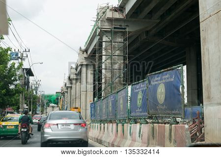 BANGKOK THAILAND - 2016 JUNE 6 : The construction site of the BTS line project (The Bangkok Mass Transit System) in Bangkok Thailand.