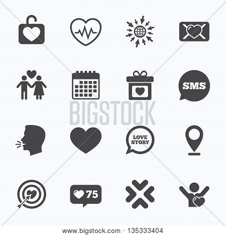 Calendar, go to web and like counter. Love, valentine day icons. Target with heart, oath letter and locker symbols. Couple lovers, heartbeat signs. Sms speech bubble, talk symbols.