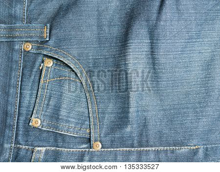 Pocket on blue jeans for  background .