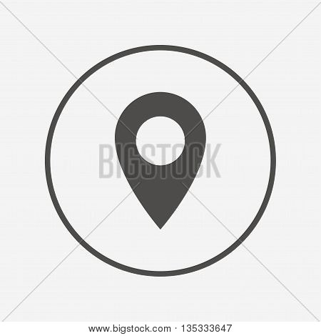 Map pointer icon. GPS location symbol. Flat map pointer icon. Simple design map pointer symbol. Map pointer graphic element. Round button with flat map pointer icon. Vector