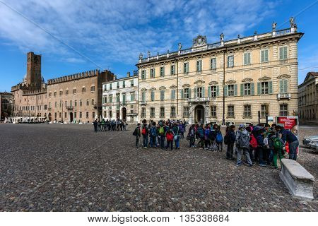 MANTUA ITALY - APRIL 29 2016: Palazzo Bonacolsi and Palazzo Vescovile (Bishops Palace) are a part of the Mantua's historical center declared a UNESCO World Heritage Site in 2007.