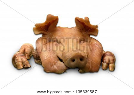 Boiled pig head for sacrifice and vow on white background