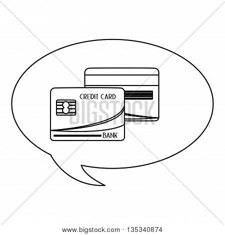 conversation bubble with credit card inside vector illustration