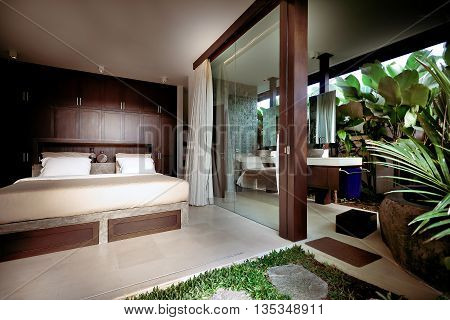 Wooden Decorated Bedroom Attached To The Outside Area