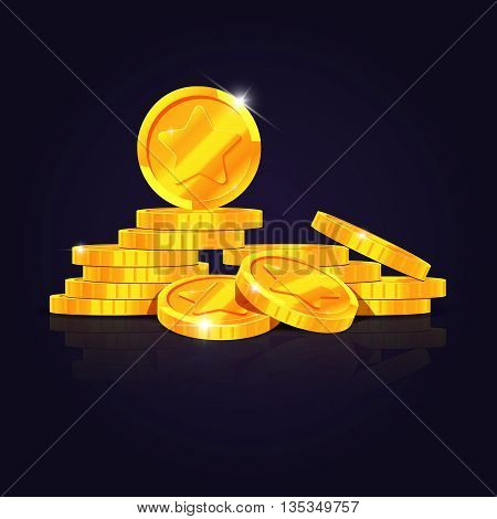 Gold coins stack vector illustration. Coin money isolated on black background. Golden coins to investment