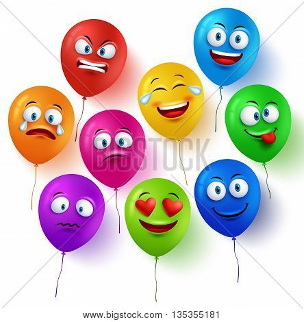 Vector balloon faces colorful set with funny facial expressions and different emotions isolated in white background. Vector illustration