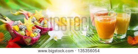 Fresh summer drinks and fruit salads