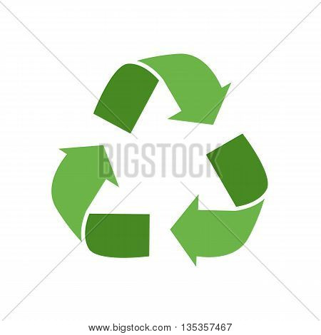 Vector illustration waste recycling plant symbol in flat style. Garbage recycling plant symbol  illustration. Industrial icon of waste recycling plant symbol. Waste recycling plant poster symbol.