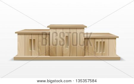 Wooden Winners Podium. Illustration of an award winner podium, made of wood, for business success and wealth podium. Vector illustration