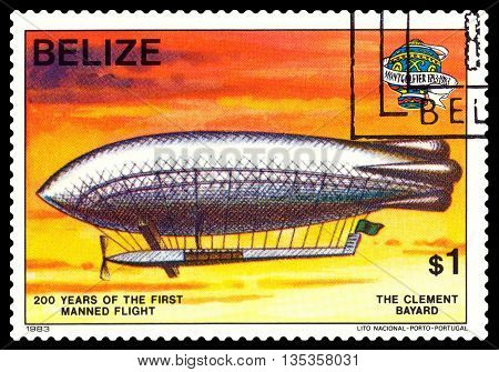 STAVROPOL RUSSIA - JUNE 20 2016: a stamp printed in Belize shows an Dirigible Clement Bayard 200 years of manned flight cirka 1983