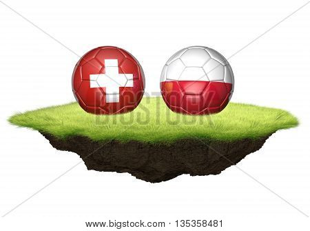 Switzerland vs Poland team balls for football championship tournament, 3D rendering