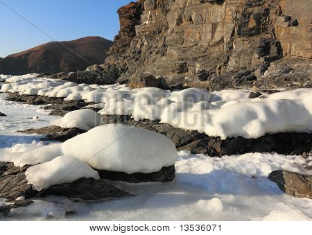 Stones Covered With Snow