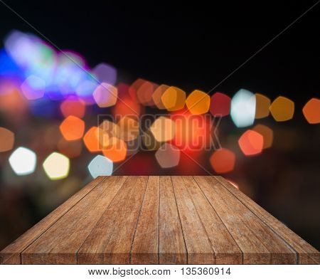 Top wooden with abstract blurred bokeh lights, stock photo