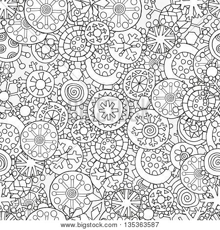 Seamless pattern with fancy winter Christmas snowflakes. Christmas hand-drawn decorative elements in vector. Pattern for coloring book. Black and white pattern. Made by trace from sketch. Zentangle