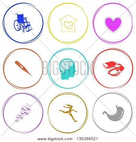 invalid chair, orphanage, heart, thermometer, human brain, blood pressure, dna, jumping girl, stomach. Medical set. Internet button. Vector icons.