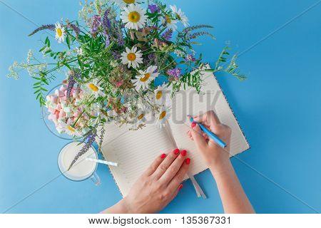 Woman Write In Notebook
