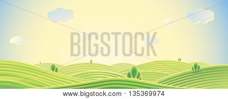 Country landscape. Panorama view. Sunrise over the hill. The intended use as a background. Vector illustration.
