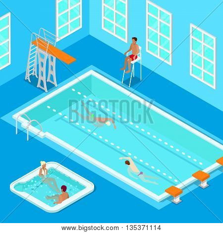 Indoors Swimming Pool with Swimmers, Lifesaver and Jacuzzi. Isometric People. Vector illustration