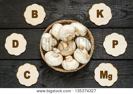 Fresh mushrooms in a basket. The source of vitamins A C PP group B protein minerals amino acids. Diet health or vegetarian food concept