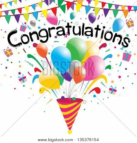 Congratulations party on a white background. Vector Congratulations.