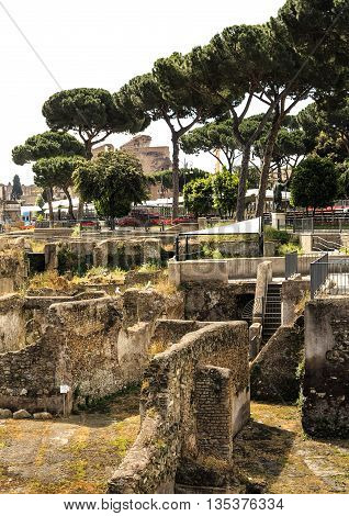 View of the ancient Markets of Forum Trajan, the last and largest of the Imperial Fora to be constructed in ancient Rome, Italy